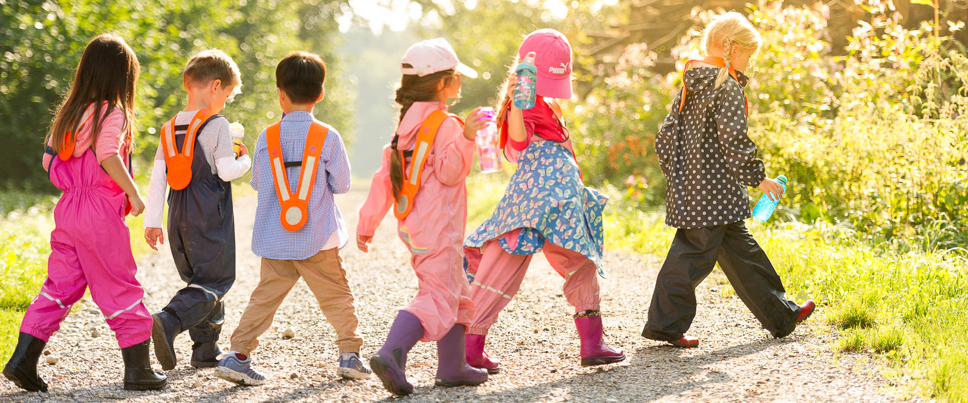 preschool/kindergarten students walking to the forest in zumikon, international school