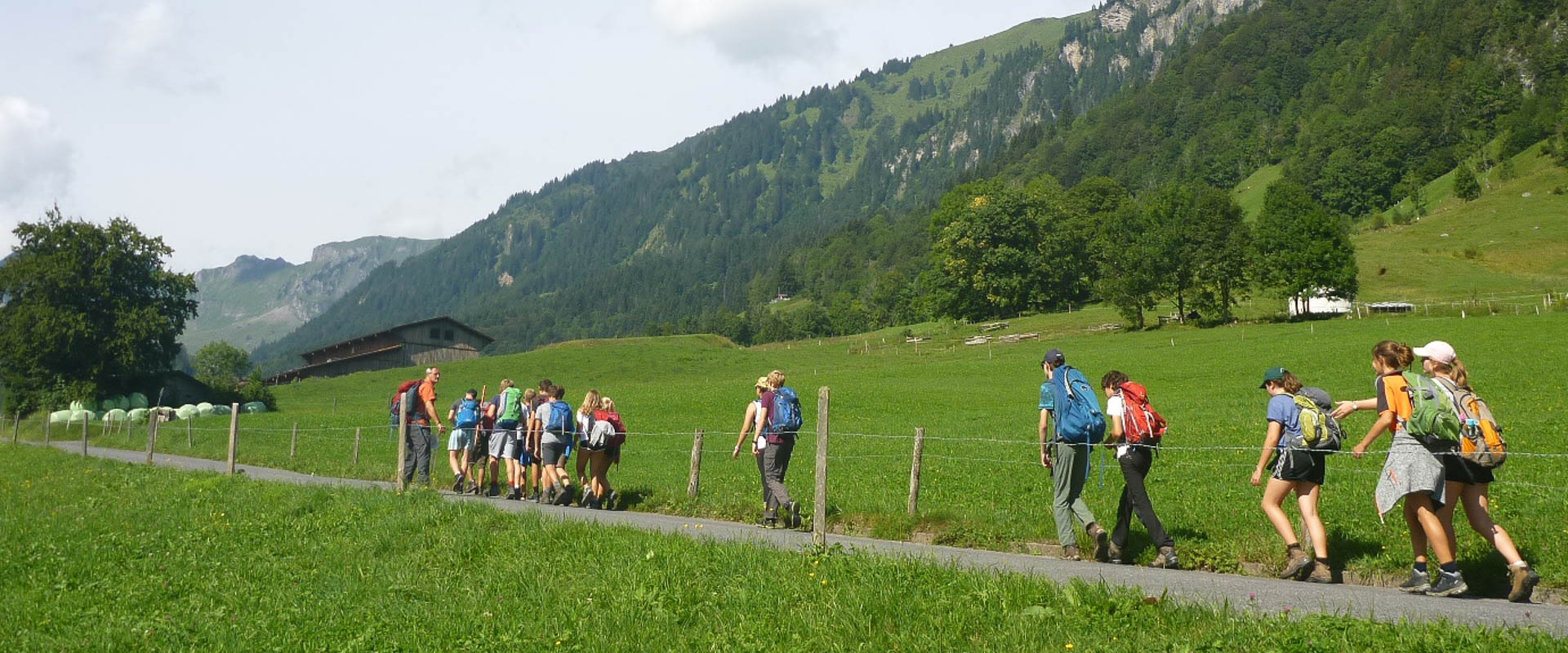 students hiking on a school field trip in switzerland, international school