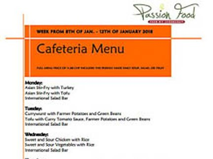 cafeteria menu, international school