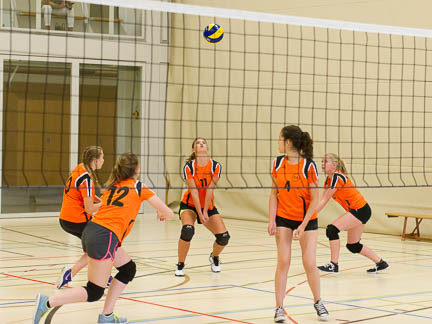 athletes playing in a volleyball tournament, international school